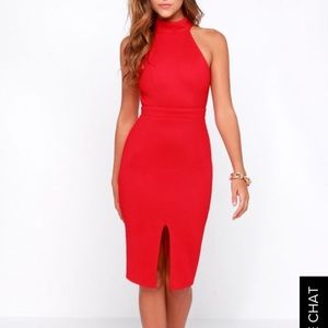 Lulus red fitted dress.